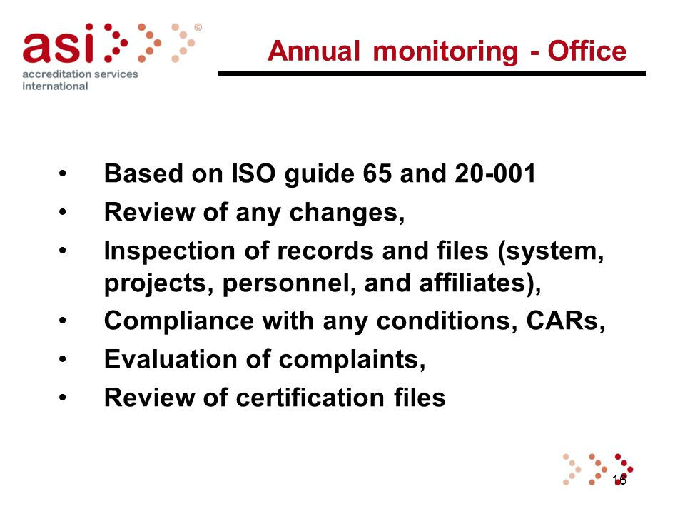 16 Annual monitoring - Office Based on ISO guide 65 and 20-001 Review of any changes, Inspection of records and files (system, projects, personnel, and affiliates), Compliance with any conditions, CARs, Evaluation of complaints, Review of certification files