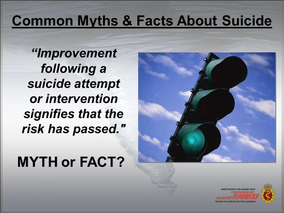 Common Myths & Facts About Suicide Improvement following a suicide attempt or intervention signifies that the risk has passed. MYTH or FACT.