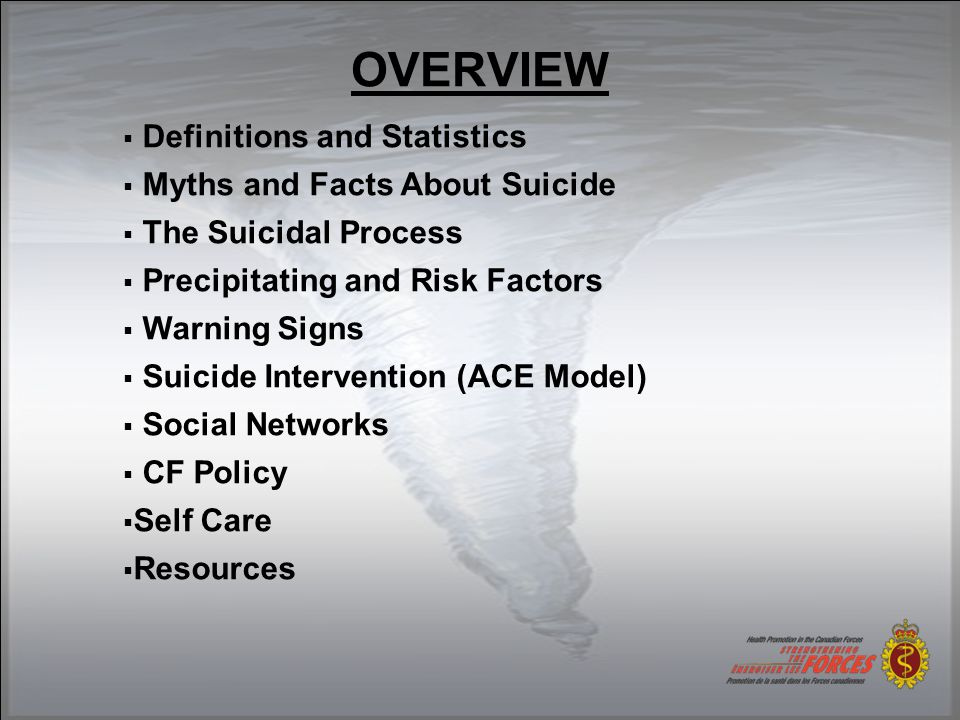 OVERVIEW  Definitions and Statistics  Myths and Facts About Suicide  The Suicidal Process  Precipitating and Risk Factors  Warning Signs  Suicide Intervention (ACE Model)  Social Networks  CF Policy  Self Care  Resources