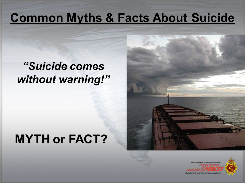 Common Myths & Facts About Suicide People considering suicide really want to die. MYTH or FACT.
