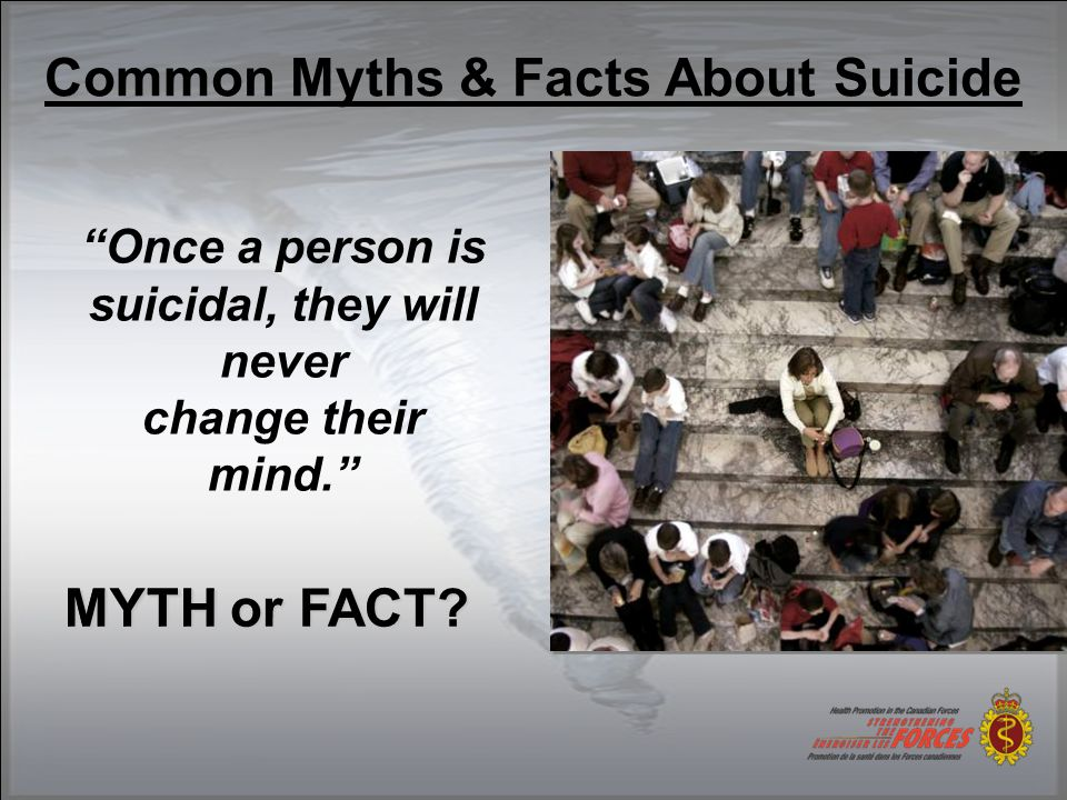 Common Myths & Facts About Suicide Someone who has attempted suicide doesn't really want to die; they're just trying to get attention. MYTH or FACT.