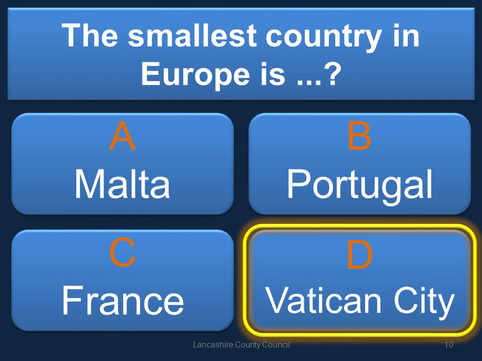 The smallest country in Europe is....