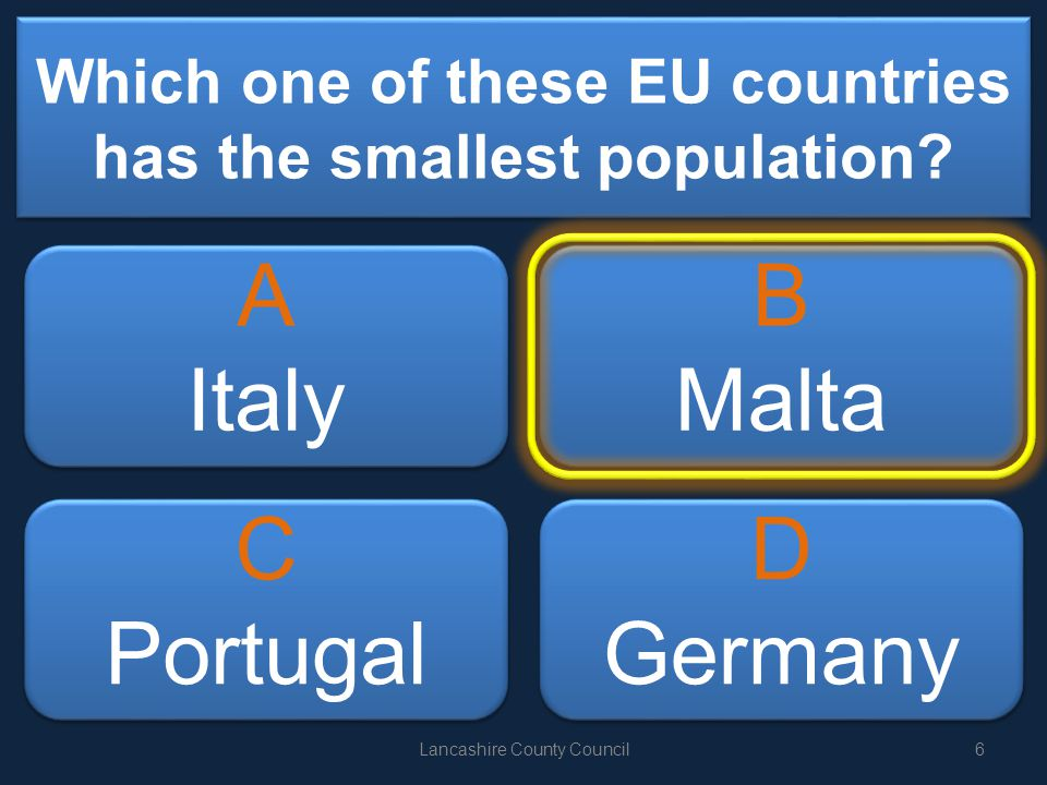 Which one of these EU countries has the smallest population.