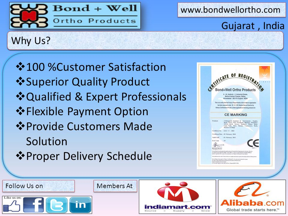 Gujarat, India About Bond + Well Members At   Follow Us on Why Us.