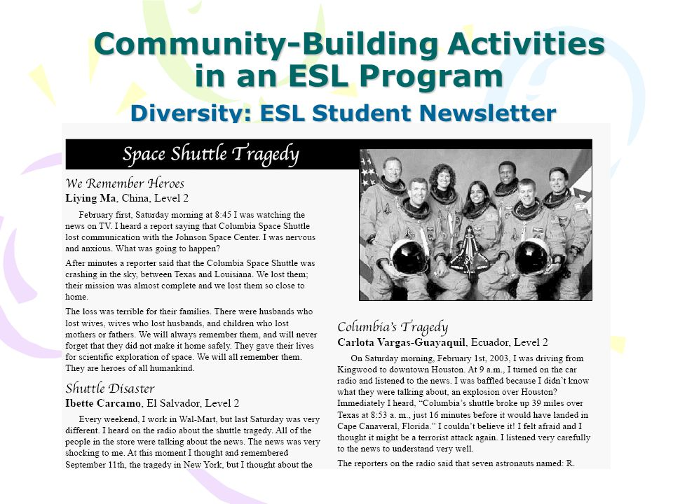 Community-Building Activities in an ESL Program Diversity: ESL Student Newsletter