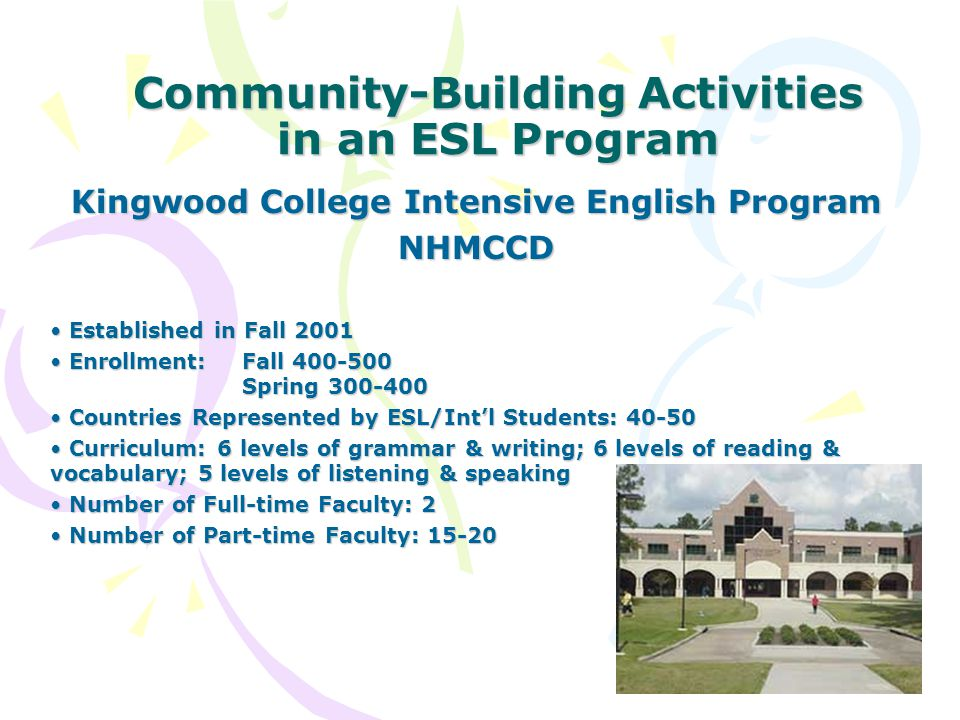 Community-Building Activities in an ESL Program Kingwood College Intensive English Program NHMCCD Established in Fall 2001 Established in Fall 2001 Enrollment: Fall 400-500 Spring 300-400 Enrollment: Fall 400-500 Spring 300-400 Countries Represented by ESL/Int'l Students: 40-50 Countries Represented by ESL/Int'l Students: 40-50 Curriculum: 6 levels of grammar & writing; 6 levels of reading & vocabulary; 5 levels of listening & speaking Curriculum: 6 levels of grammar & writing; 6 levels of reading & vocabulary; 5 levels of listening & speaking Number of Full-time Faculty: 2 Number of Full-time Faculty: 2 Number of Part-time Faculty: 15-20 Number of Part-time Faculty: 15-20