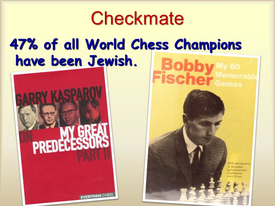 Checkmate 47% of all World Chess Champions have been Jewish.