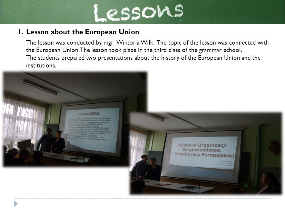 2.Political and economic issues – a lesson devoted to English vocabulary The lesson was conducted by mgr Magdalena Trzepizur.