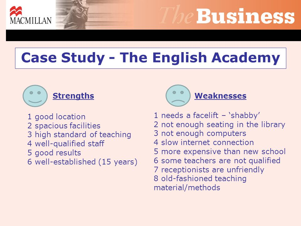 Case Study - The English Academy Strengths 1 good location 2 spacious facilities 3 high standard of teaching 4 well-qualified staff 5 good results 6 well-established (15 years) Weaknesses 1 needs a facelift – 'shabby' 2 not enough seating in the library 3 not enough computers 4 slow internet connection 5 more expensive than new school 6 some teachers are not qualified 7 receptionists are unfriendly 8 old-fashioned teaching material/methods