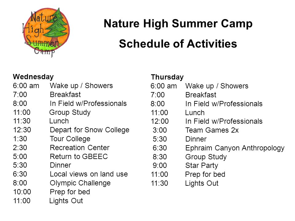 Nature High Summer Camp Schedule of Activities Friday 7:00 am Wake up / Showers 8:00 Breakfast 9:00 In Field w/Professionals 11:00 Group Study 12:00 Lunch 1:00 UT Div.