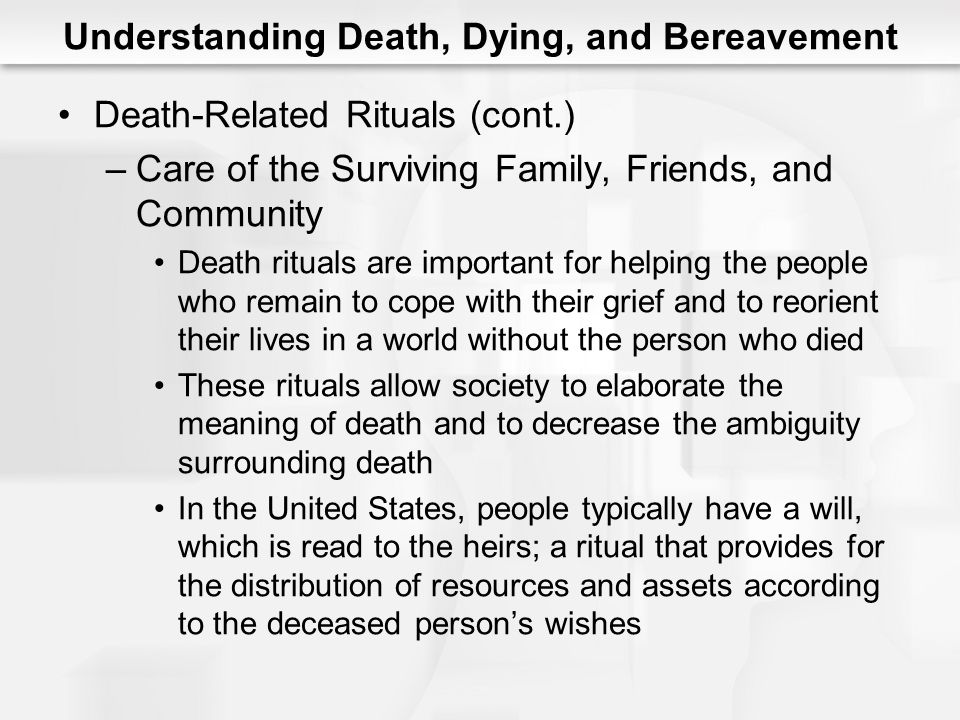 Understanding Death, Dying, and Bereavement Death-Related Rituals (cont.) –Care of the Surviving Family, Friends, and Community Death rituals are impo
