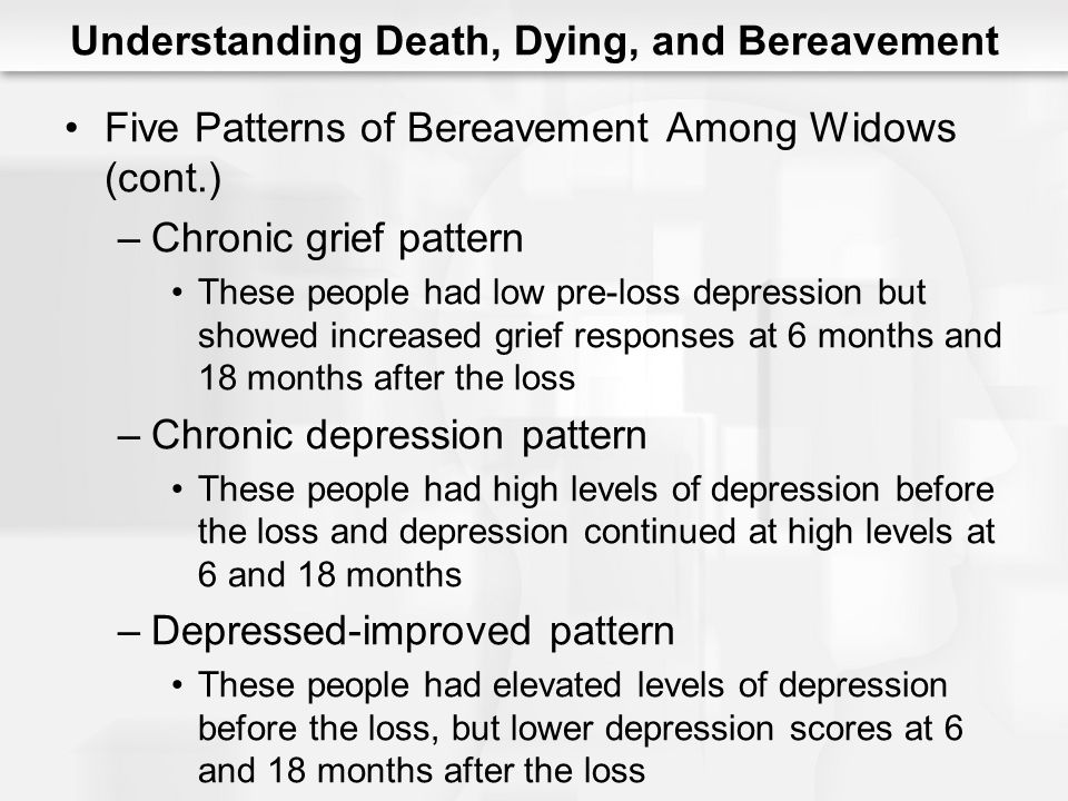 Understanding Death, Dying, and Bereavement Five Patterns of Bereavement Among Widows (cont.) –Chronic grief pattern These people had low pre-loss dep