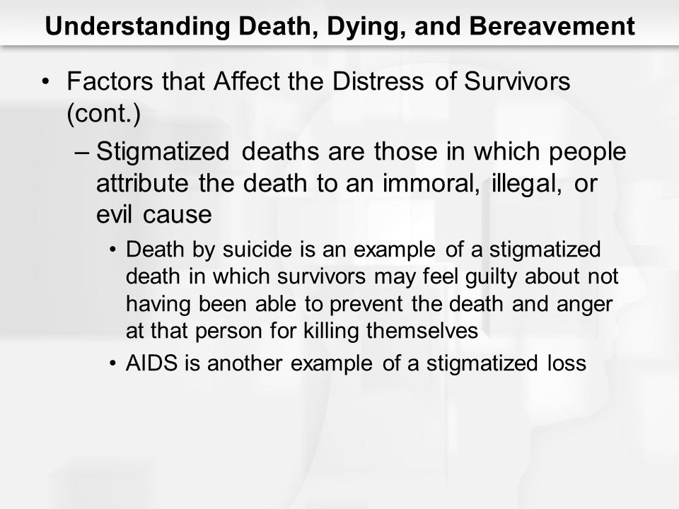 Understanding Death, Dying, and Bereavement Factors that Affect the Distress of Survivors (cont.) –Stigmatized deaths are those in which people attrib