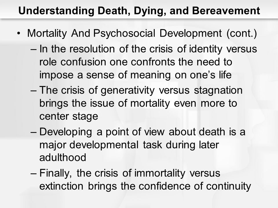 Understanding Death, Dying, and Bereavement Mortality And Psychosocial Development (cont.) –In the resolution of the crisis of identity versus role co