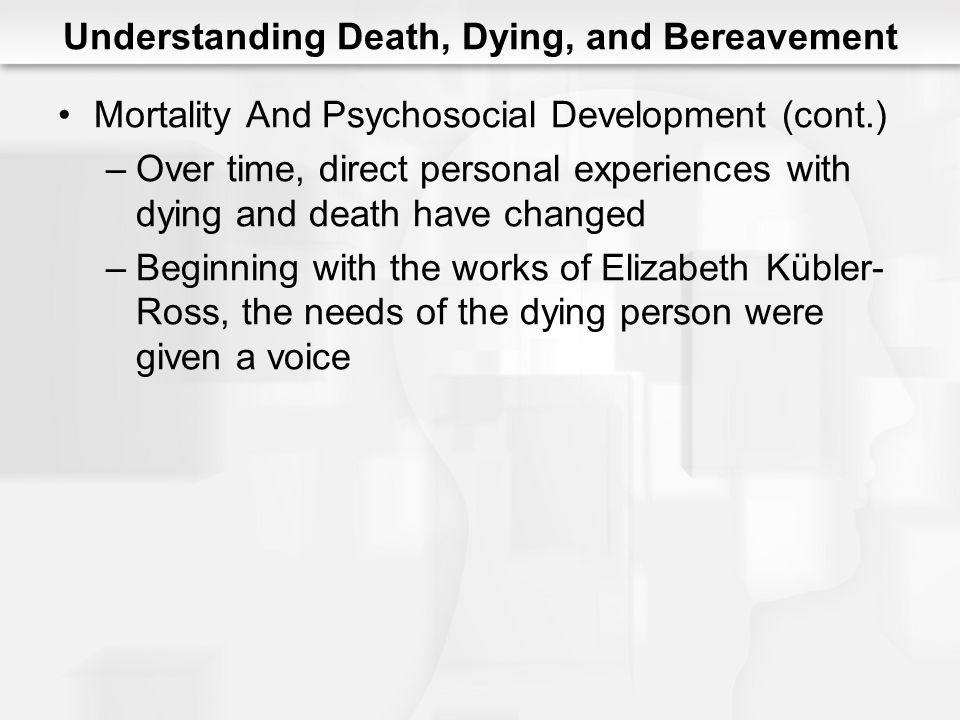 Understanding Death, Dying, and Bereavement Mortality And Psychosocial Development (cont.) –Over time, direct personal experiences with dying and deat