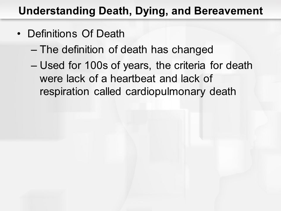 Understanding Death, Dying, and Bereavement Definitions Of Death –The definition of death has changed –Used for 100s of years, the criteria for death