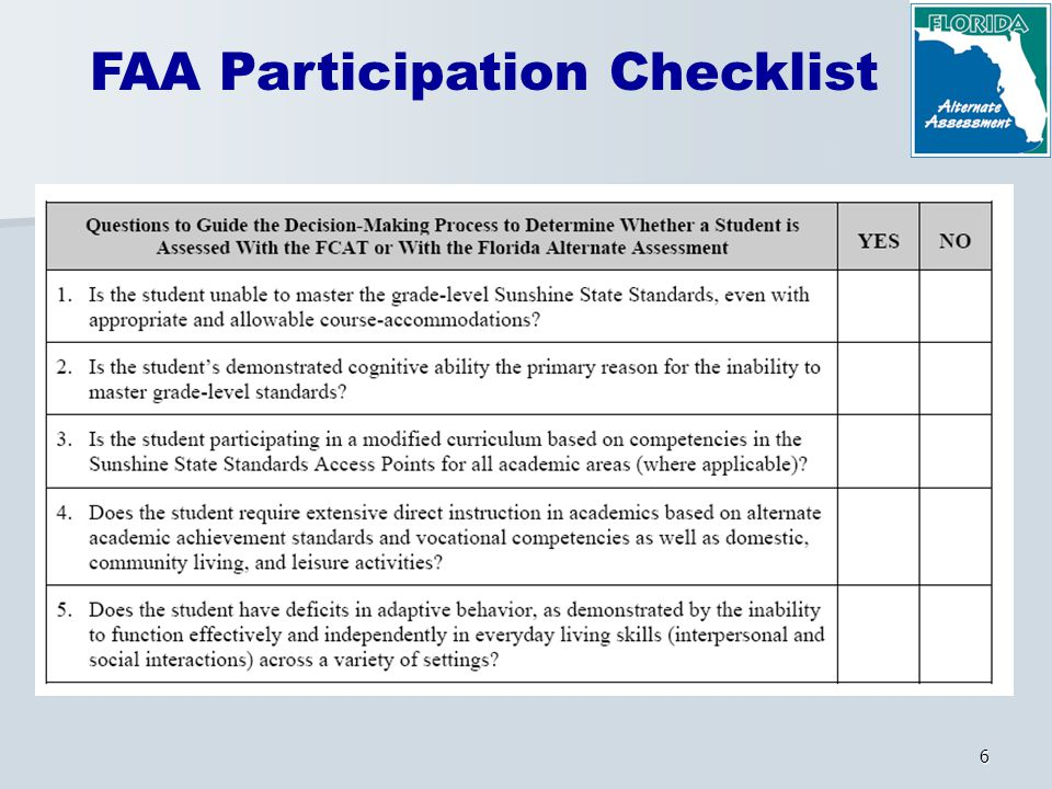 6 FAA Participation Checklist