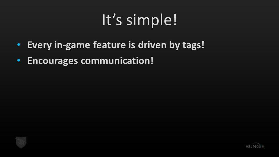 It's simple! Every in-game feature is driven by tags! Encourages communication!