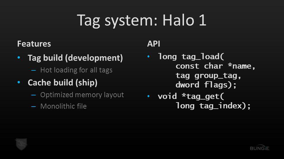 Tag system: Halo 1 Features Tag build (development) – Hot loading for all tags Cache build (ship) – Optimized memory layout – Monolithic file API long tag_load( const char *name, tag group_tag, dword flags); void *tag_get( long tag_index);