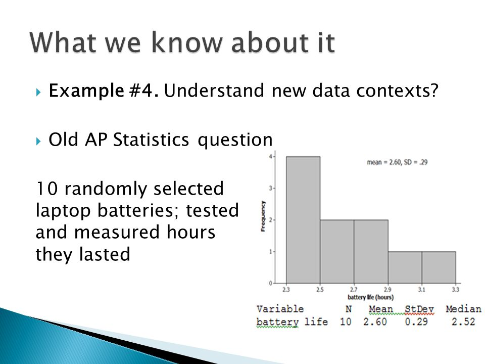  Example #4. Understand new data contexts?  Old AP Statistics question 10 randomly selected laptop batteries; tested and measured hours they lasted