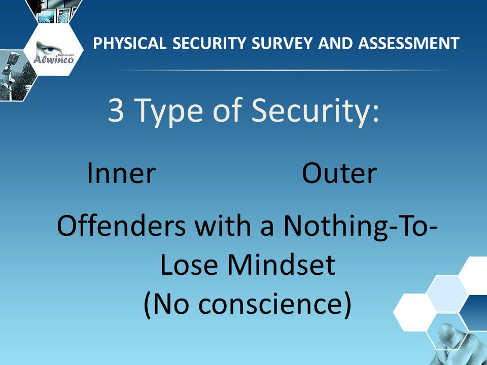 3 Type of Security: PHYSICAL SECURITY SURVEY AND ASSESSMENT InnerOuter Offenders with a Nothing-To- Lose Mindset (No conscience)