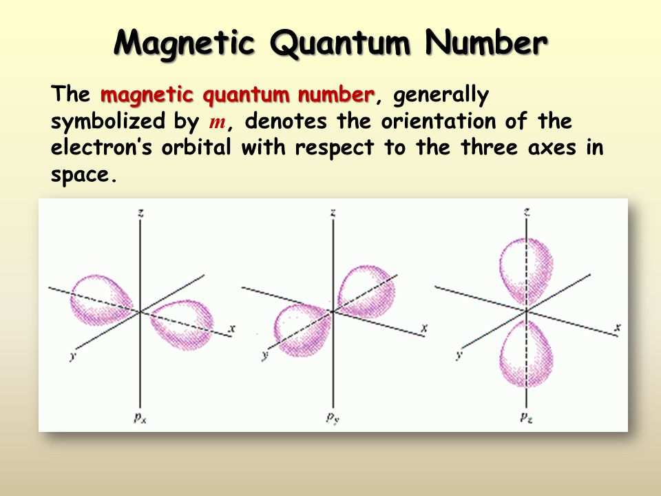 Magnetic Quantum Number magnetic quantum number The magnetic quantum number, generally symbolized by m, denotes the orientation of the electron's orbi