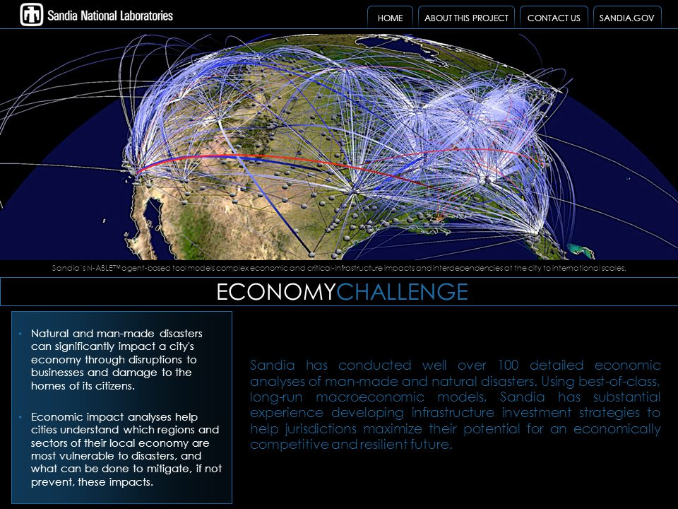 ECONOMYCHALLENGE Sandia has conducted well over 100 detailed economic analyses of man-made and natural disasters. Using best-of-class, long-run macroe