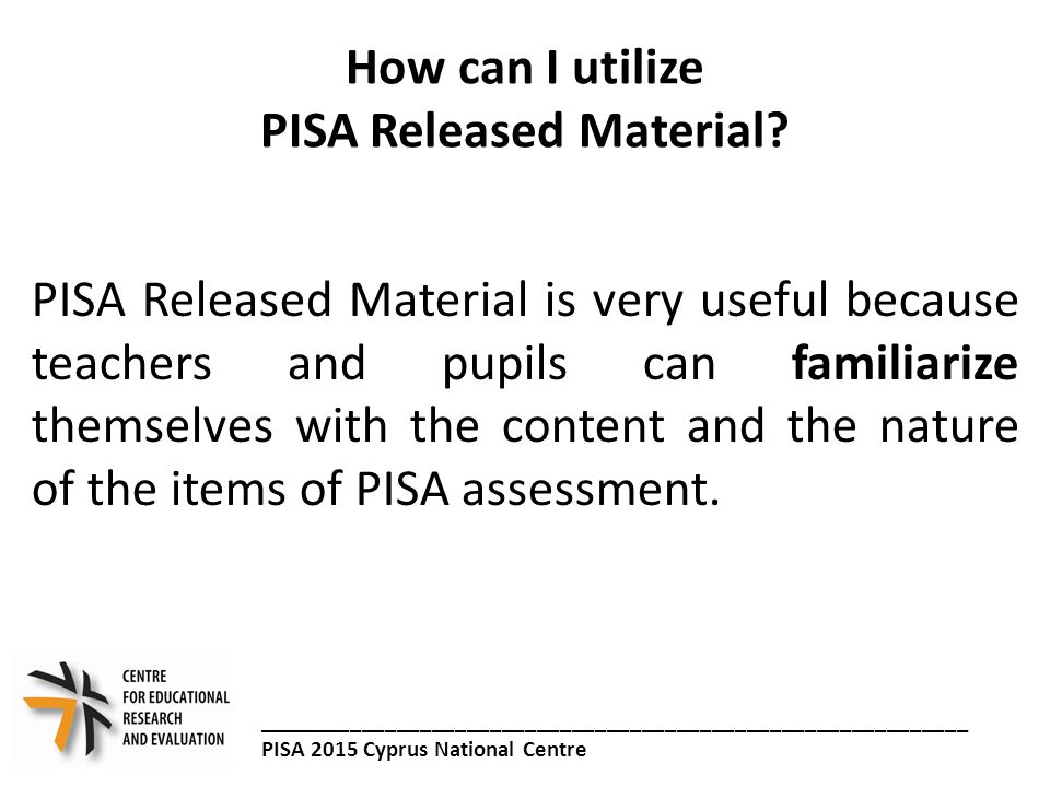 How can I utilize PISA Released Material.