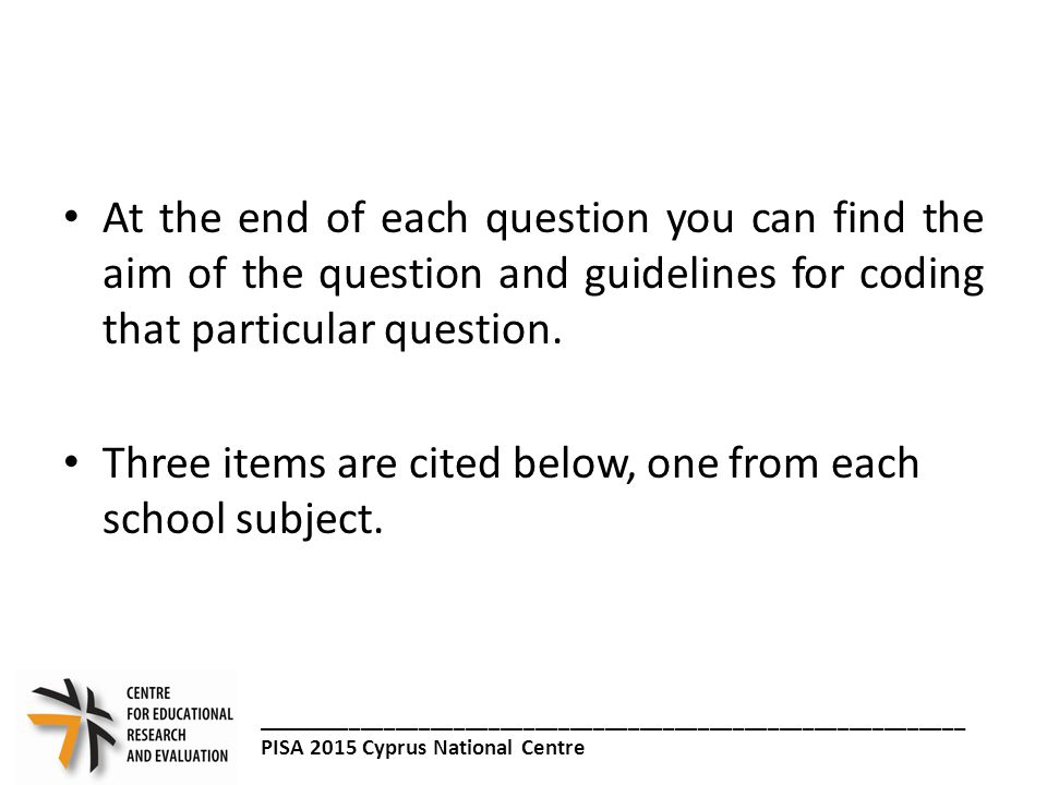 Stem: Problem Information Reading Item Example 1