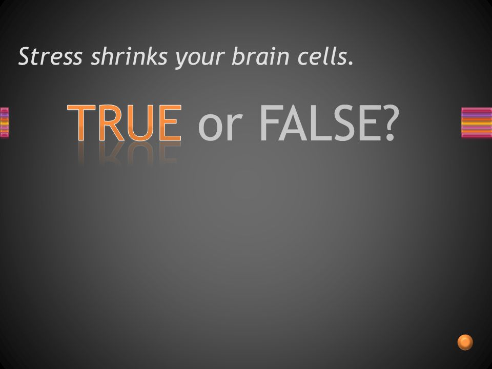 TRUE or FALSE Stress shrinks your brain cells.