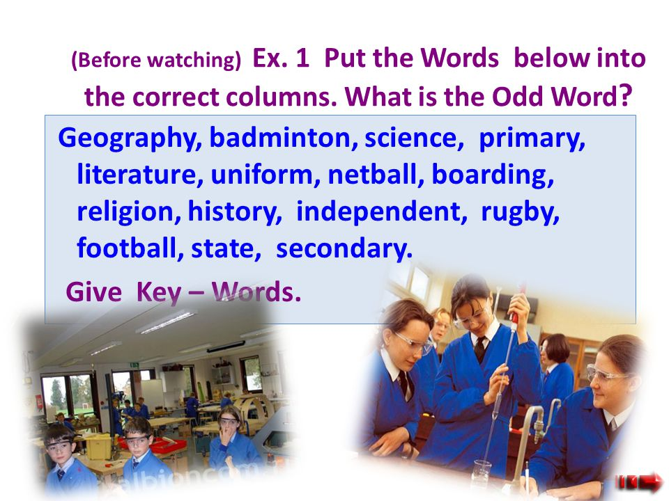 Vocabulary : Science, religion, geography, history, literature, primary, independent, state, secondary, boarding, football, rugby, badminton, netball,