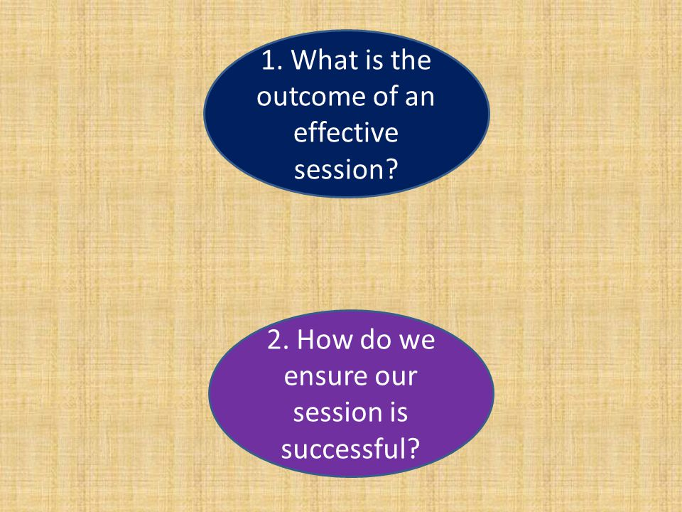 1. What is the outcome of an effective session 2. How do we ensure our session is successful