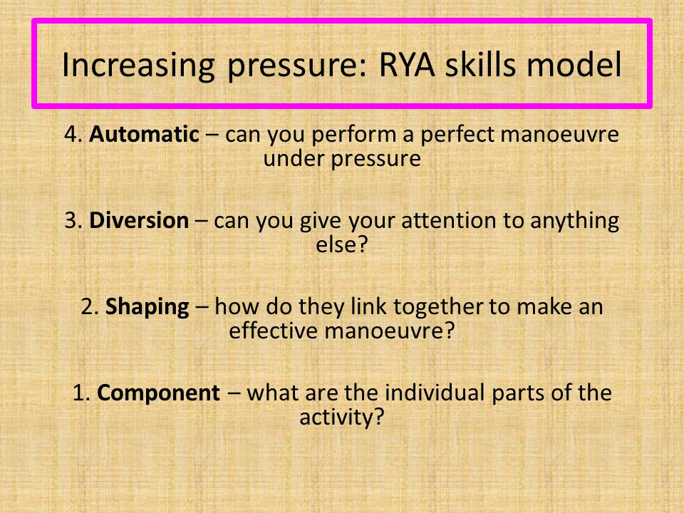 Increasing pressure: RYA skills model 4.