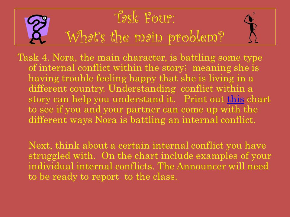 Task Four: What's the main problem? Task 4. Nora, the main character, is battling some type of internal conflict within the story; meaning she is havi