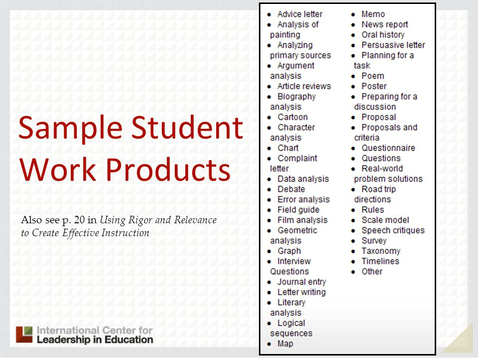 Sample Student Work Products Also see p. 20 in Using Rigor and Relevance to Create Effective Instruction