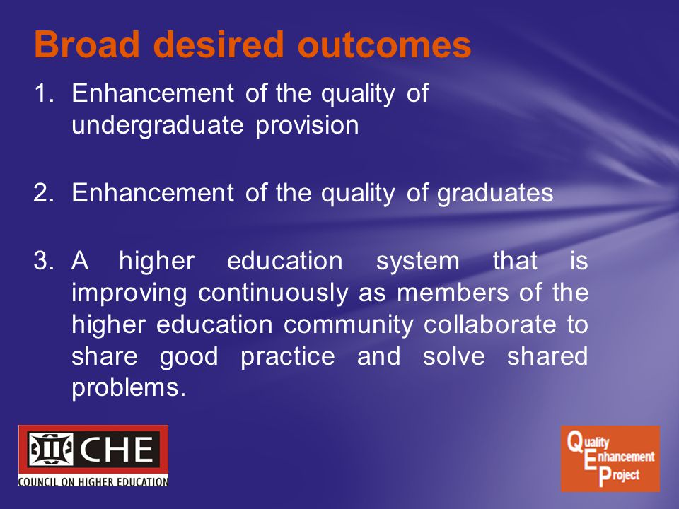 1.Enhancement of the quality of undergraduate provision 2.Enhancement of the quality of graduates 3.A higher education system that is improving contin