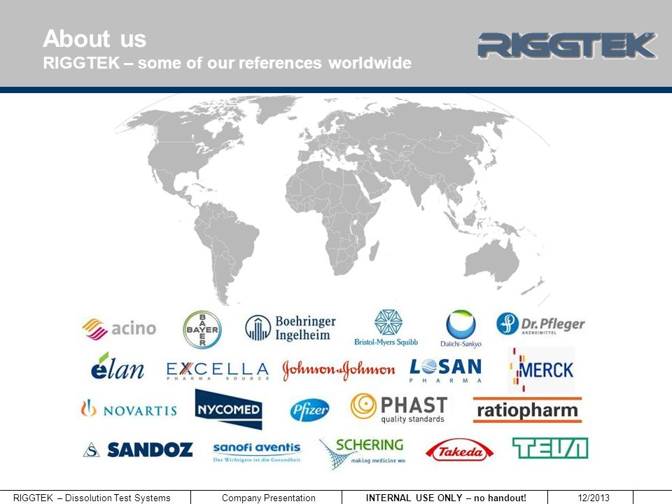RIGGTEK – Dissolution Test Systems INTERNAL USE ONLY – no handout! 12/2013 Company Presentation About us RIGGTEK – some of our references worldwide