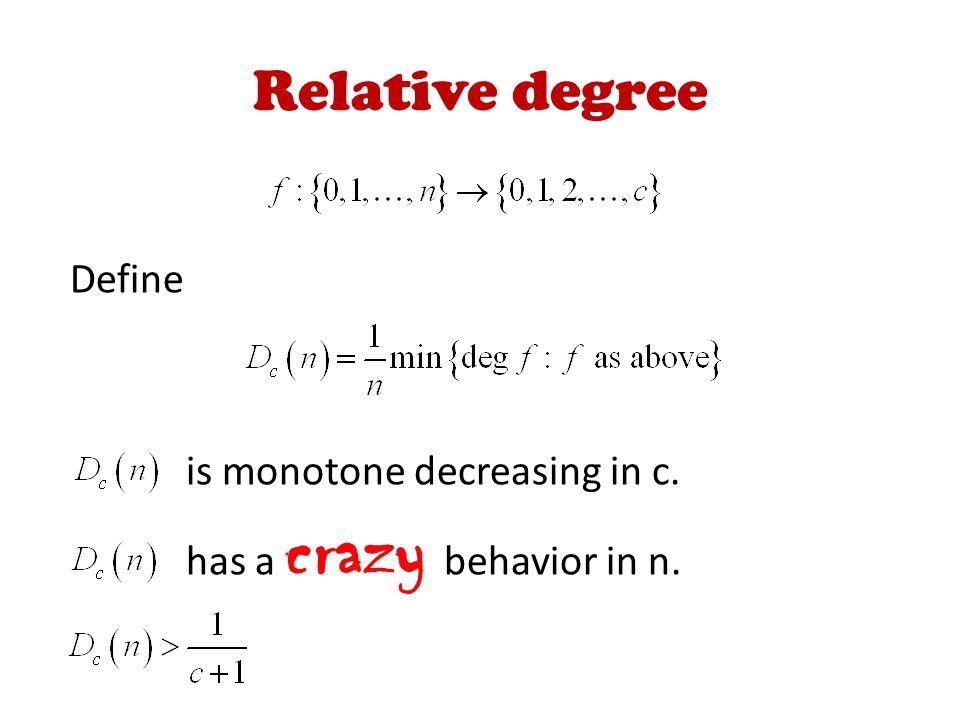 Relative degree Define is monotone decreasing in c. has a crazy behavior in n.
