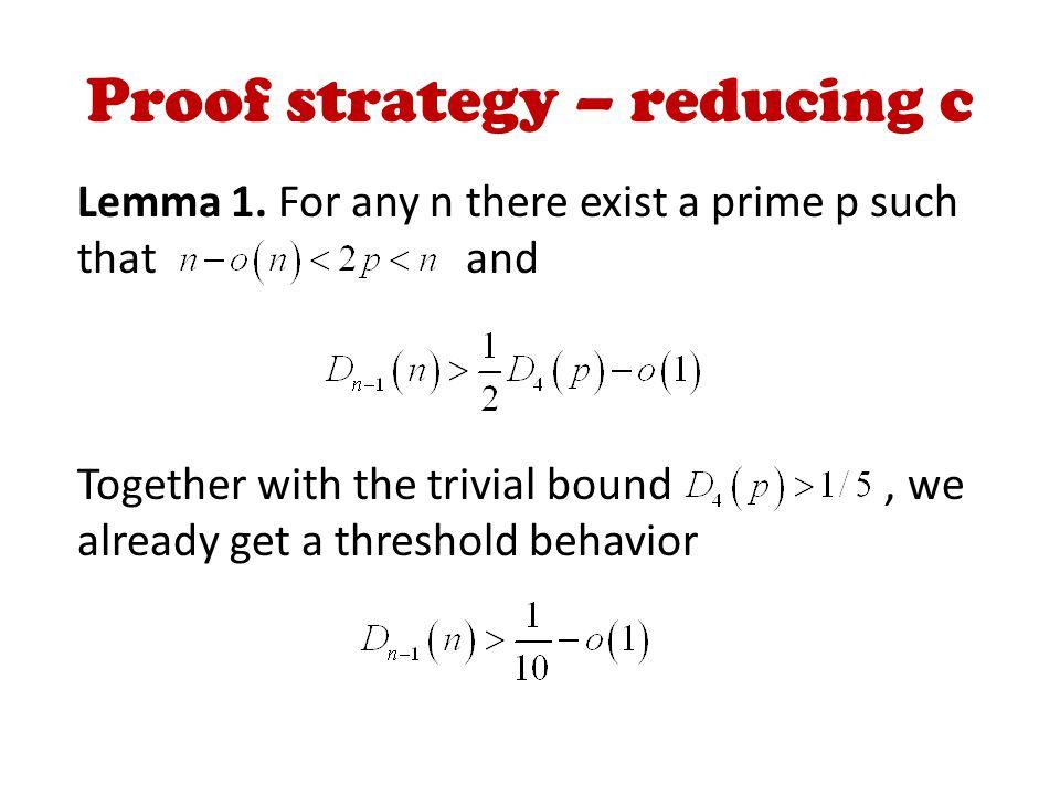 Proof strategy – reducing c Lemma 1.