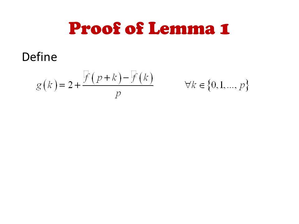 Proof of Lemma 1 Define