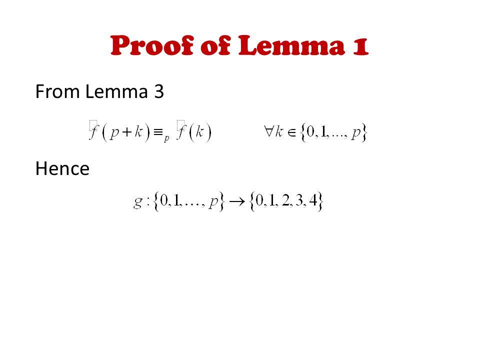 Proof of Lemma 1 From Lemma 3 Hence