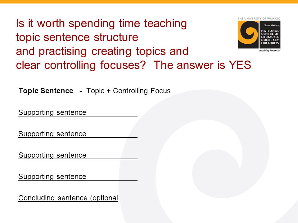 Is it worth spending time teaching topic sentence structure and practising creating topics and clear controlling focuses? The answer is YES Topic Sent