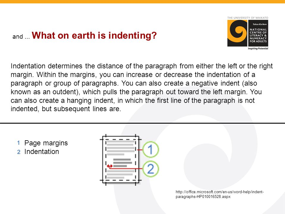 and... What on earth is indenting? Indentation determines the distance of the paragraph from either the left or the right margin. Within the margins,
