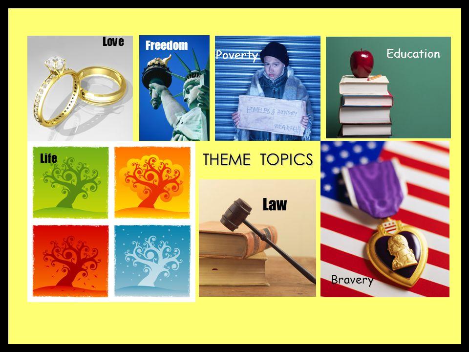 THEME TOPICS Love Life Freedom Law Poverty Education Bravery