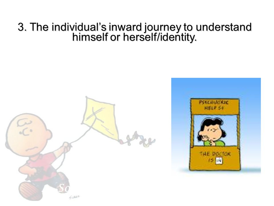 """3. The individual's inward journey to understand himself or herself/identity. Sometimes called """"man vs. self"""""""