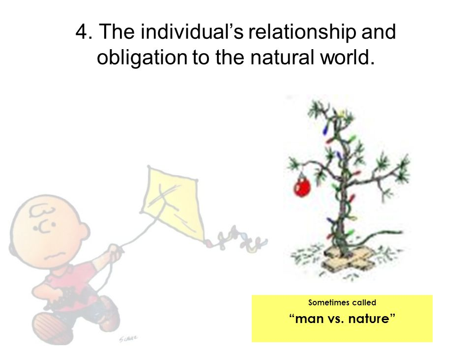 """4. The individual's relationship and obligation to the natural world. Sometimes called """"man vs. nature"""""""