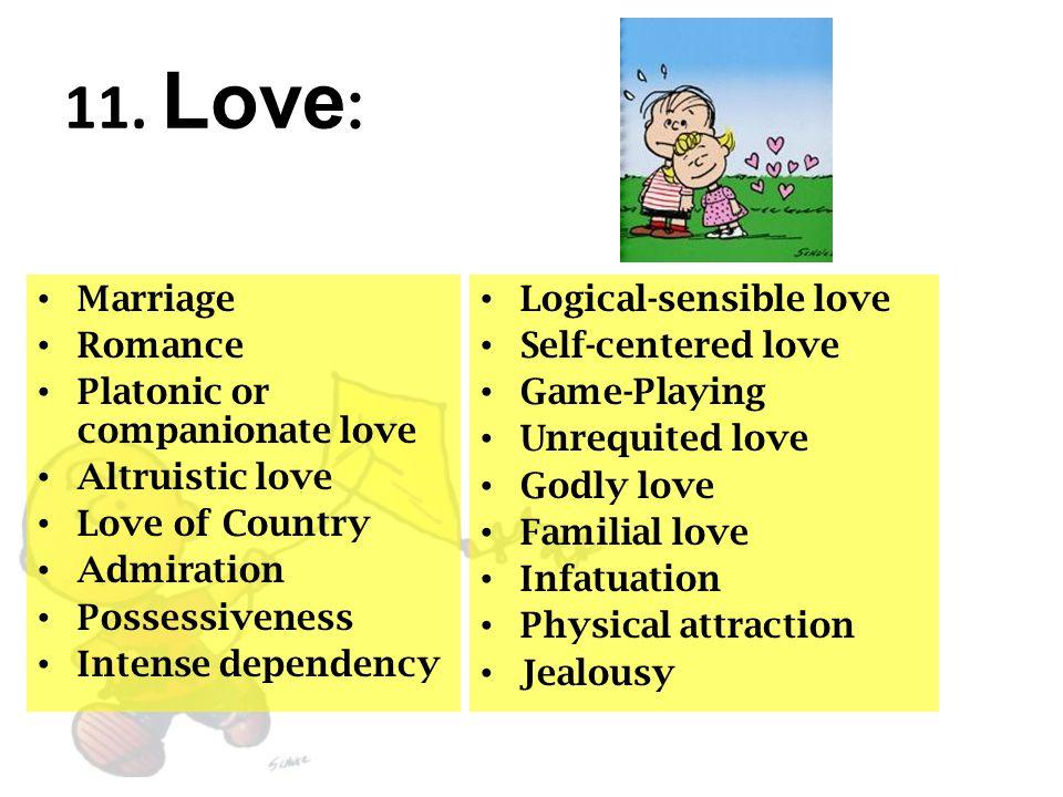 11. Love : Marriage Romance Platonic or companionate love Altruistic love Love of Country Admiration Possessiveness Intense dependency Logical-sensibl