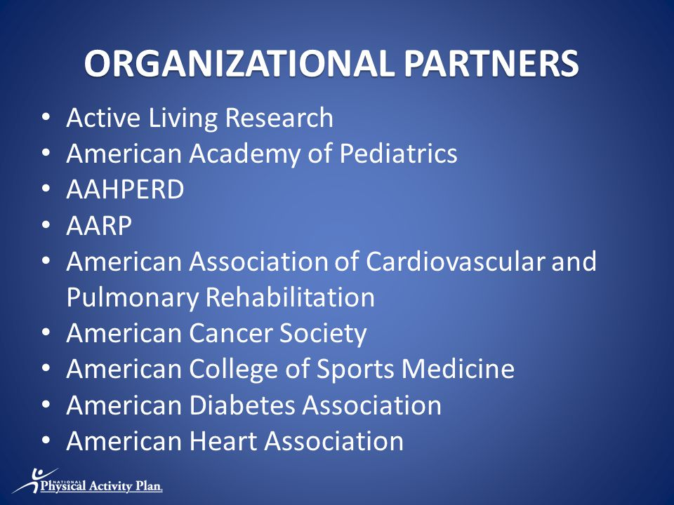 ORGANIZATIONAL PARTNERS Active Living Research American Academy of Pediatrics AAHPERD AARP American Association of Cardiovascular and Pulmonary Rehabilitation American Cancer Society American College of Sports Medicine American Diabetes Association American Heart Association