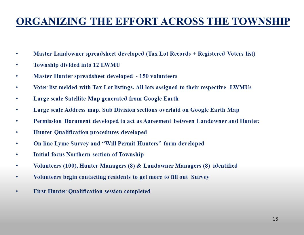 18 ORGANIZING THE EFFORT ACROSS THE TOWNSHIP Master Landowner spreadsheet developed (Tax Lot Records + Registered Voters list) Township divided into 1