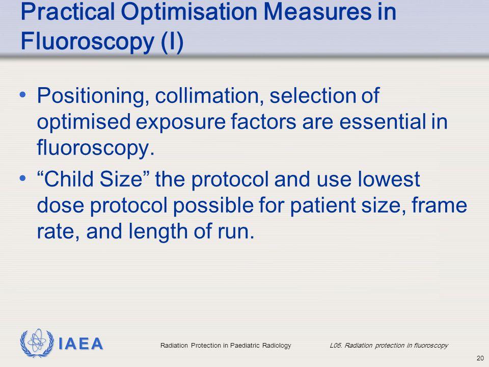 IAEA Radiation Protection in Paediatric Radiology L05. Radiation protection in fluoroscopy 20 Practical Optimisation Measures in Fluoroscopy (I) Posit
